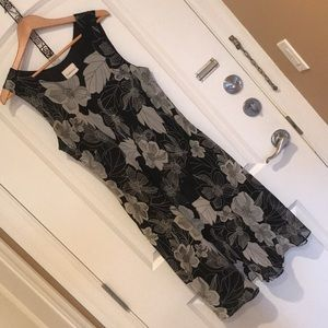 Black & Silver-Grey Dress with Flair (12-14)